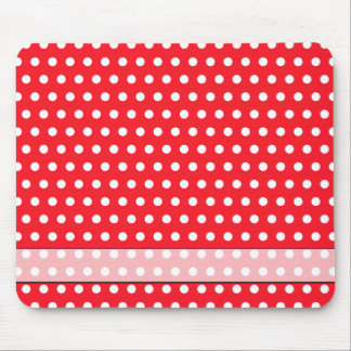 Red and White Polka Dot Pattern. Spotty. Mouse Mat