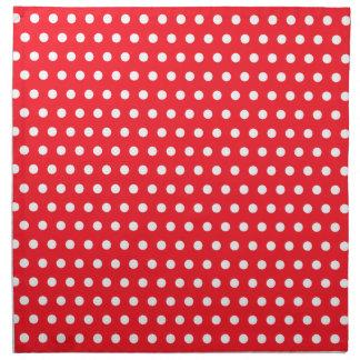 Red and White Polka Dot Pattern. Spotty. Napkin