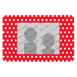 Red and White Polka Dot Pattern Spotty Rectangle Magnets