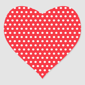 Red and White Polka Dot Pattern Spotty Heart Sticker