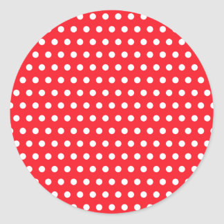 Red and White Polka Dot Pattern Spotty Round Stickers