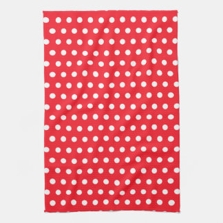 Red and White Polka Dot Pattern. Spotty. Tea Towel
