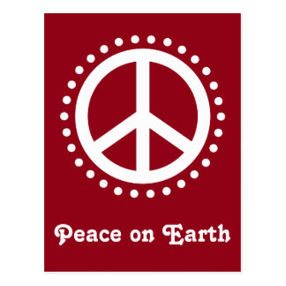 Red and White Polka Dot Peace on Earth Postcard