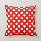 Red and White Polka Dot Pillow