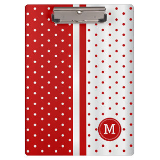 Red and White Polka Dot Stripes - Monogram Clipboards
