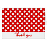 Red and White Polka Dot Thank You Notes Note Card