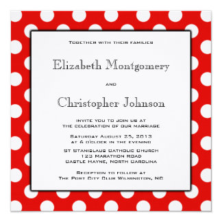 Red and White Polka Dot Wedding Invitation