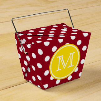 Red and White Polka Dot With Yellow Monogram Favour Box
