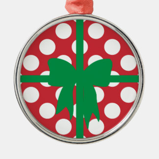 Red and White Polka Dot XMAS Silver-Colored Round Decoration