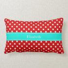 Red and White Polka Dots Brt Aqua Name Monogram Lumbar Cushion