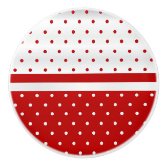 Red and White Polka Dots Ceramic Knob