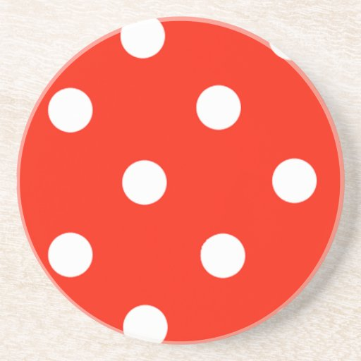 Red And White Polka Dots Drink Coaster