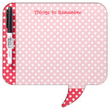 Red and White Polka Dots Dry-Erase Board