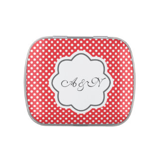 Red and White Polka Dots Monogram Tin Jelly Belly Tin