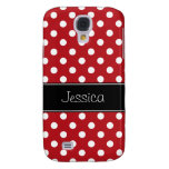 Red and White Polka Dots Personalised Galaxy S4 Case