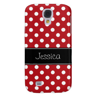 Red and White Polka Dots Personalized Galaxy S4 Case