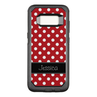 Red and White Polka Dots Personalized OtterBox Commuter Samsung Galaxy S8 Case