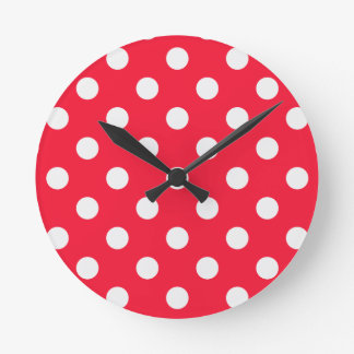 Red and White Polka Dots Round Clock