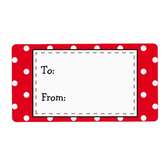 Red and White Polka Dots, To...From... Shipping Label