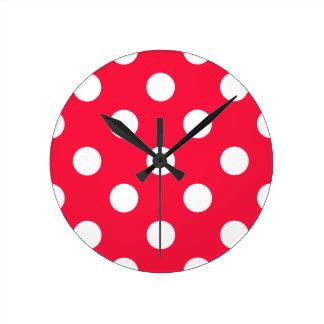 Red and white polka dots wallclock