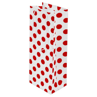 Red and white polka dots wine gift bag