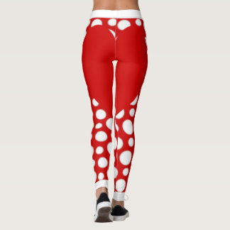 Red and White Polka Dots with Red Heart Leggings