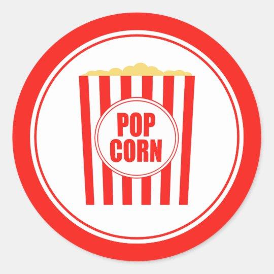 Red And White Popcorn Round Sticker