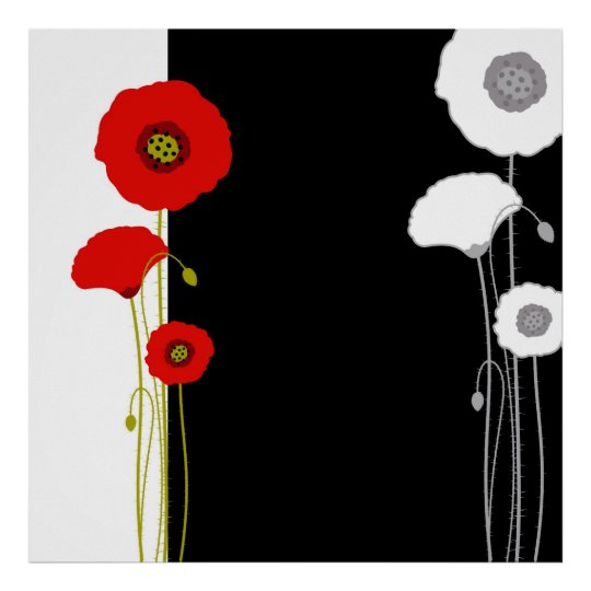 Red and White Poppy Poster