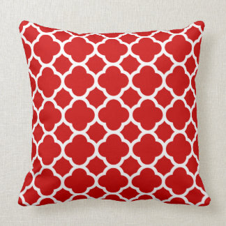 Red and White Quatrefoil Pattern Cushion