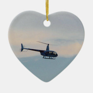Red and White R44 Helicopter Ceramic Heart Decoration