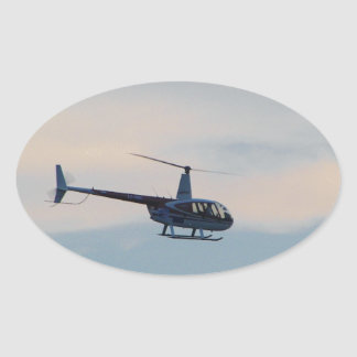 Red and White R44 Helicopter Oval Sticker
