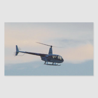 Red and White R44 Helicopter Rectangular Sticker