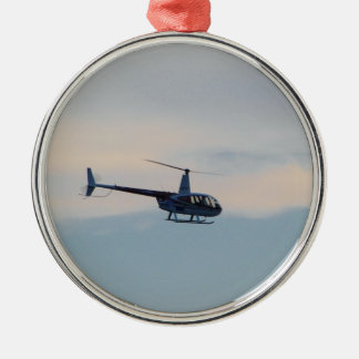 Red and White R44 Helicopter Silver-Colored Round Decoration