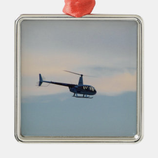 Red and White R44 Helicopter Silver-Colored Square Decoration