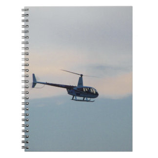 Red and White R44 Helicopter Spiral Notebook