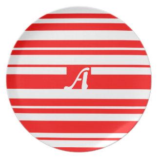 Red and White Random Stripes Monogram Plate