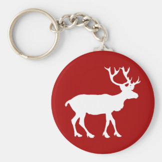 Red and White Reindeer Key Ring
