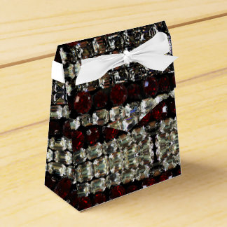 Red and white Rhinestones - vintage jewelry Party Favour Boxes