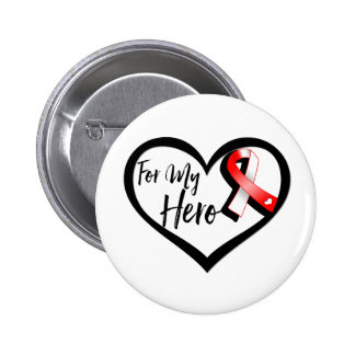Red and White Ribbon For My Hero 6 Cm Round Badge
