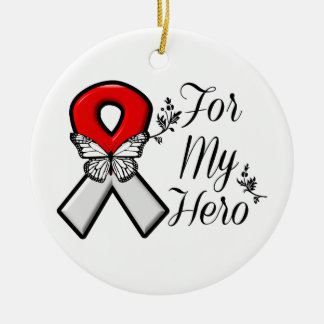 Red and White Ribbon For My Hero Round Ceramic Decoration
