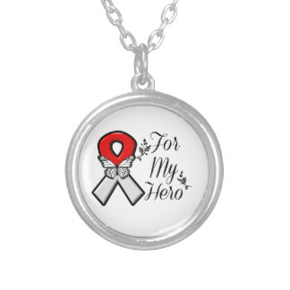 Red and White Ribbon For My Hero Round Pendant Necklace
