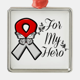 Red and White Ribbon For My Hero Silver-Colored Square Decoration