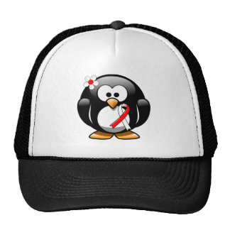 Red and White Ribbon Penguin Cap