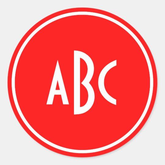 Red and White Ring Circle Monogram Classic Round Sticker
