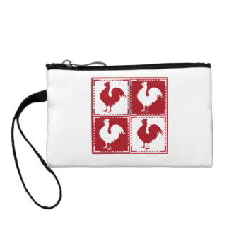 Red and White Rooster Chicken Lovers Coin Purses