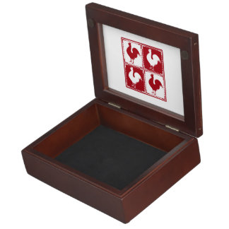 Red and White Rooster Chicken Lovers Memory Box