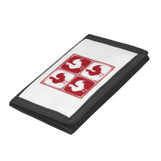 Red and White Rooster Chicken Lovers Trifold Wallets