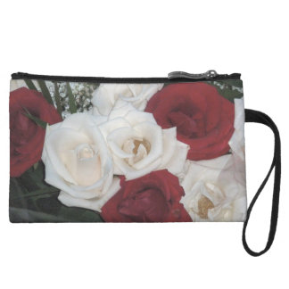 Red and White Roses Bagettes Bag Wristlet Purse