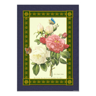 """Red and White Roses Botanical Invitation 5"""" X 7"""" Invitation Card"""