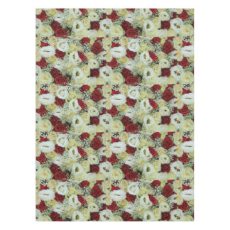 Red and white roses by Therosegarden Tablecloth